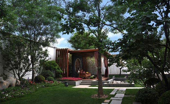 新中式庭院风格-重庆别墅花园设计施工 别墅花园设计